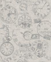 Rasch Andy Wand 649239 Vintage Etno órák bélyegek képeslapok világosszürke szürke lakkfényű ezüst tapéta