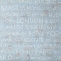 Caselio Passports 66566066 CITIES Design etno városnevek kék/szürkéskék törtfehér bézs barna tapéta