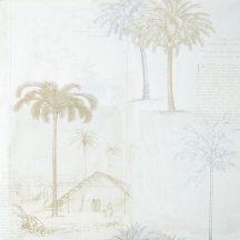 Caselio Passports 66591099 PALMS Natur trópusi pálmafák krém bézs lila barna ezüst tapéta