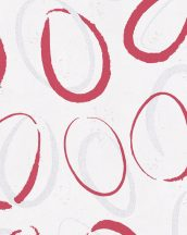 Novamur Ella 6755-10 Absztrakt grafikus szabáltyalan körök fehér ezüst piros fénylő hatás tapéta