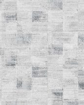 Novamur Ella 6759-20 Geometrikus textil alapon négyzetek szürkésfehér szürke fekete fénylő hatás tapéta