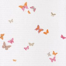 Caselio Pretty Lili 69104035  pillangók krémfehér narancs rózsaszín  tapéta