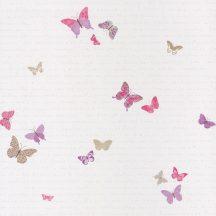 Caselio Pretty Lili 69104050 pillangók krémfehér pink lila tapéta