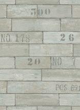 Erismann Fashion Wood 6914-08 Natur faminta számozott dobozok szürke türkiz szürkészöld tapéta