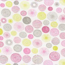 Caselio Pretty Lili 69274075  körök  krémfehér almazöld  pink szürke  dekoranyag
