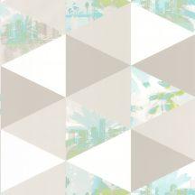 Caselio Tonic 69436303 háromszögek pálmák  Beach fehér türkizzöld kék szürke tapéta