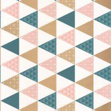 Caselio Tonic 69444109  háromszögek fehér rózsaszín petrolkék arany  tapéta