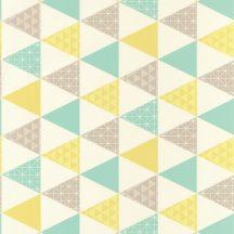 Caselio Tonic 69446116  háromszögek fehér türkizzöld  sárga szürkésbézs  tapéta