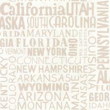 Caselio Tonic 69461001 feliratok amerikai államok nevei krém barna  tapéta