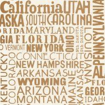 Caselio Tonic 69463009  feliratok amerikai államok nevei krém arany  tapéta