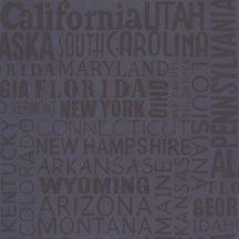 Caselio Tonic 69466900  feliratok amerikai államok nevei sötétkék tapéta