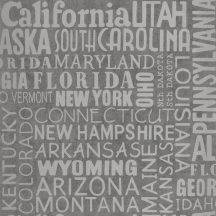 Caselio Tonic 69469309 feliratok amerikai államok nevei szürke ezüst  tapéta