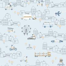 ICH Noa 7002-1 TRAFFIC BLUE Gyerekszobai város járművek közlekedés kék bézs fehér arany tapéta