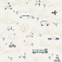 ICH Noa 7002-2 TRAFFIC BEIGE Gyerekszobai város járművek közlekedés bézs fehér zöld zöldeskék fekete tapéta