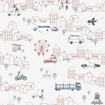 ICH Noa 7002-3 TRAFFIC RED Gyerekszobai város járművek közlekedés fehér fekete kék vörös barna tapéta