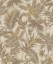 Rasch Kalahari 704136 Natur Botanikus trópusi levelek szövetstruktúra alap krémszín barna finom arany tapéta