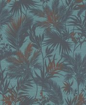 Rasch Kalahari 704143 Natur Botanikus trópusi levelek szövetstruktúra türkiz kék árnyalatok finom bronz tapéta