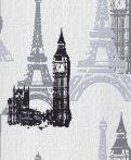 Rasch Kids & Teens III/Make a Change 734805 Párizs London nevezetességei fehér szürke fekete tapéta