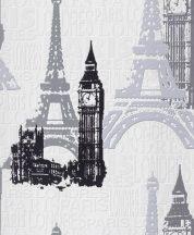 Rasch Kidsclub/Make a Change 734805 Párizs London nevezetességei fehér szürke fekete tapéta