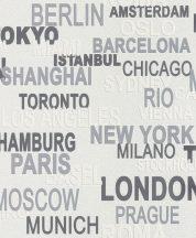 Rasch Kidsclub 2014/Make a Change 766707 feliratok városnevek fehér szürke ezüst tapéta