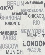 Rasch Kids & Teens III/Make a Change 766707 feliratok városnevek fehér szürke ezüst tapéta