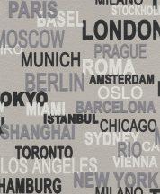 Rasch Kids & Teens III, 766721 Gyerekszobai feliratok városnevek szürke ezüst fekete fehér tapéta