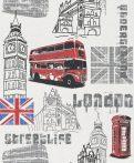 Rasch Kidsclub/Make a Change 781908 London fehér szürke kék piros fekete tapéta