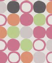 Rasch Hotspot 805123 Grafikus Retro körök sorba és oszlopba rendezve fehér pink világoszöld narancs antracit tapéta