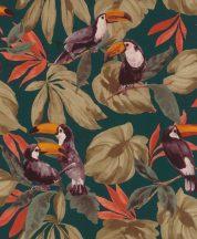 Rasch Denzo II 807509 Natur trópusi dzsungel életkép tukánokkal textilstruktúra sötét petrol barna korallvörös narancs tapéta