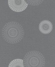 Rasch #tapetenwechsel 808803 grafikus stilizált virágkörök antracit ezüst tapéta