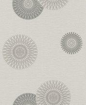 Rasch #tapetenwechsel 808810 grafikus stilizált virágkörök szürke bézs  ezüst tapéta