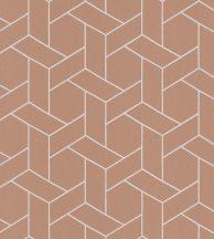 Casadeco Helsinki 82033106  FOCALE TERRACOTTA geometrikus barack/terrakotta fémes ezüst pontokkal tapéta