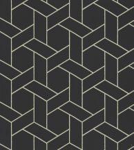 Casadeco Helsinki 82039528  FOCALE NOIR  geometrikus fekete fémes arany pontokkal tapéta