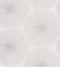 Casadeco Helsinki 82040124 OURSIN TAUPE/BLANC nagy napkörök csillogó sugarakkal fehér fémes ezüst tapéta