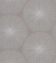Casadeco Helsinki 82041204  OURSIN TAUPE nagy napkörök csillogó sugarakkal szürkésbézs fémes ezüst tapéta