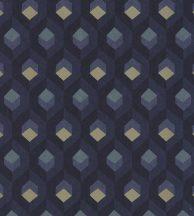 Casadeco Helsinki 82056523 HEXACUBE ENCRE design hatszögminta tintakék arany fémes vízkék tapéta