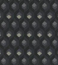 Casadeco Helsinki 82059511 HEXACUBE NOIR design hatszögminta faszénfekete szürke fémes arany tapéta