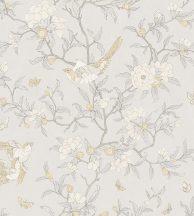 Casadeco Natsu 82131201 NARA etno virágok madarak szürke krémfehér bézs tapéta