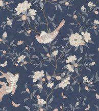 Casadeco Natsu 82136515 NARA etno virágok madarak éjkék krémfehér aranybarna lazacszín tapéta
