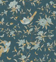 Casadeco Natsu 82137230  NARA etno virágok madarak smaradgzöld aranysárga barna világoskék tapéta
