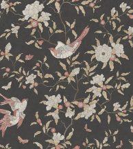 Casadeco Natsu 82139403  NARA etno virágok madarak fekete piros barna szürkésfehér tapéta