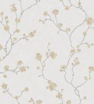 Casadeco Natsu 82142234 HANAMI virágos szürkésfehér szürke aranysárga tapéta