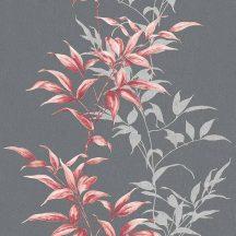 Novamur Hailey 82224 (6791-50) Natur realisztikus levélminta sötétszürke antracit rózsaszín piros tapéta
