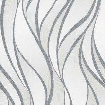 Novamur Hailey 82233 (6794-30) Grafikus design hullámminta fehér szürke ezüst fénylő mintarajzolat tapéta
