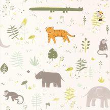 Casadeco Happy Dreams 82727304 SAVANNA KHAKI szavannai állatok krémfehér zöld barna narancs tapéta