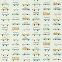 Casadeco Happy Dreams 82767315 ALL OVER VINTAGE CARS MENTHE VERT menta sárga bézs zöld fehér tapéta