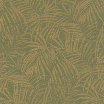 Rasch Denzo II 832129 Natur trópusi finoman rajzolt pálmalevelek textilstruktúra khakizöld csillogó arany tapéta