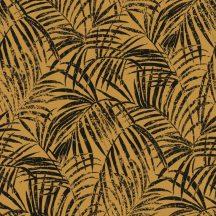 Rasch Denzo II 832136  Natur trópusi finoman rajzolt pálmalevelek textilstruktúra okkersárga fekete tapéta
