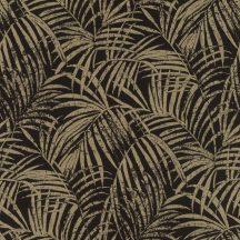 Rasch Denzo II 832143  Natur trópusi finoman rajzolt pálmalevelek textilstruktúra fekete csillogó bézsarany/arany tapéta