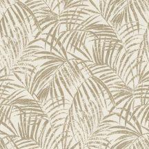 Rasch Denzo II 832174  Natur trópusi finoman rajzolt pálmalevelek textilstruktúra krémfehér csillogó arany tapéta